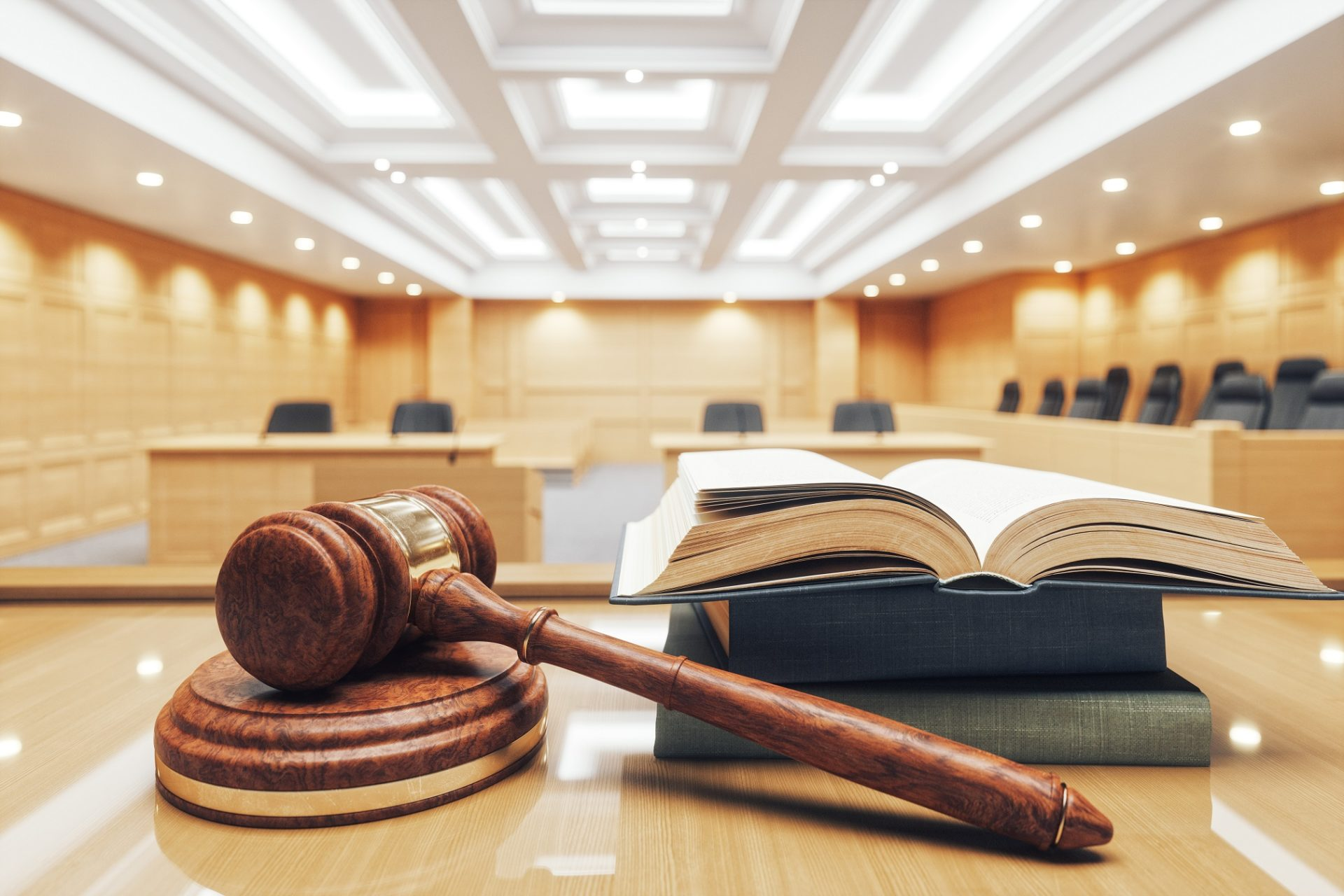 Courtroom, Gavel And Law Books